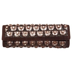 Roberto Cavalli Bronze Crystal Decorated Clutch Bag w Removable Rope Chain Strap