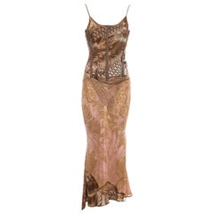 Roberto Cavalli brown and pink silk corseted evening dress, fw 2001