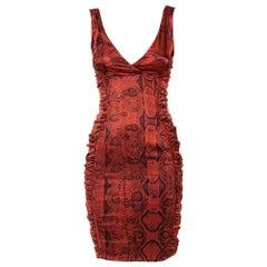 Roberto Cavalli Brown Animal Printed Satin Ruched Mini Dress S