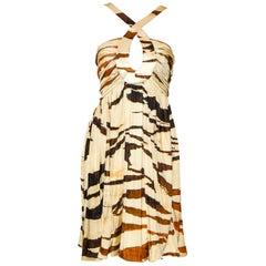 Roberto Cavalli Brown & Beige Zebra Print Empire Waist Gathered Dress