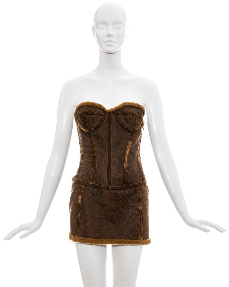 Roberto Cavalli brown distressed leather shearling corseted mini dress.  Fall-Winter 2003