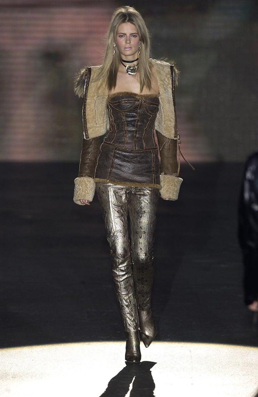 Black Roberto Cavalli brown distressed leather shearling mini dress, fw 2003 For Sale
