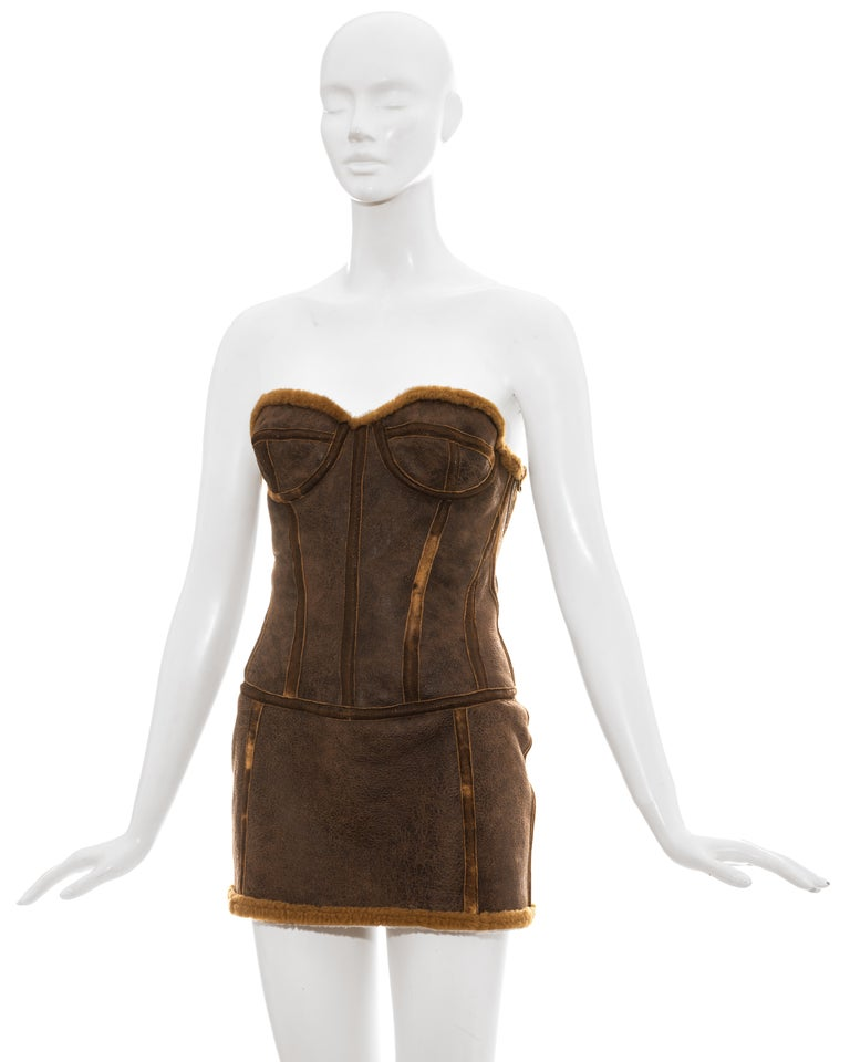 Women's Roberto Cavalli brown distressed leather shearling mini dress, fw 2003 For Sale