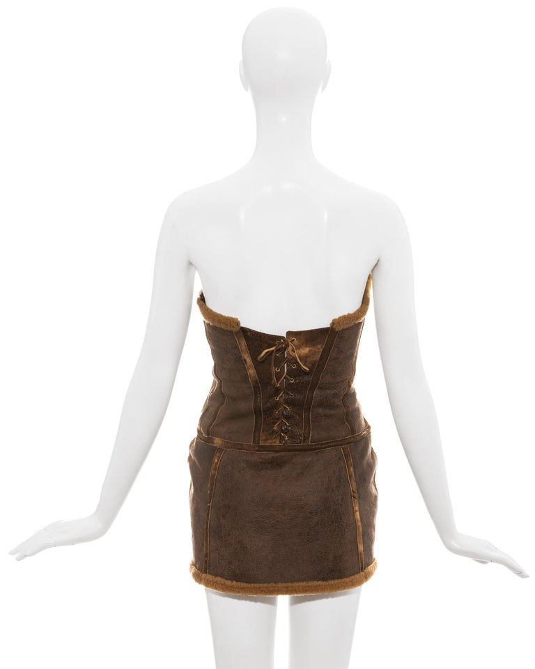 Roberto Cavalli brown distressed leather shearling mini dress, fw 2003 For Sale 1