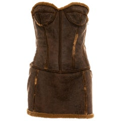 Roberto Cavalli brown distressed leather shearling mini dress, fw 2003