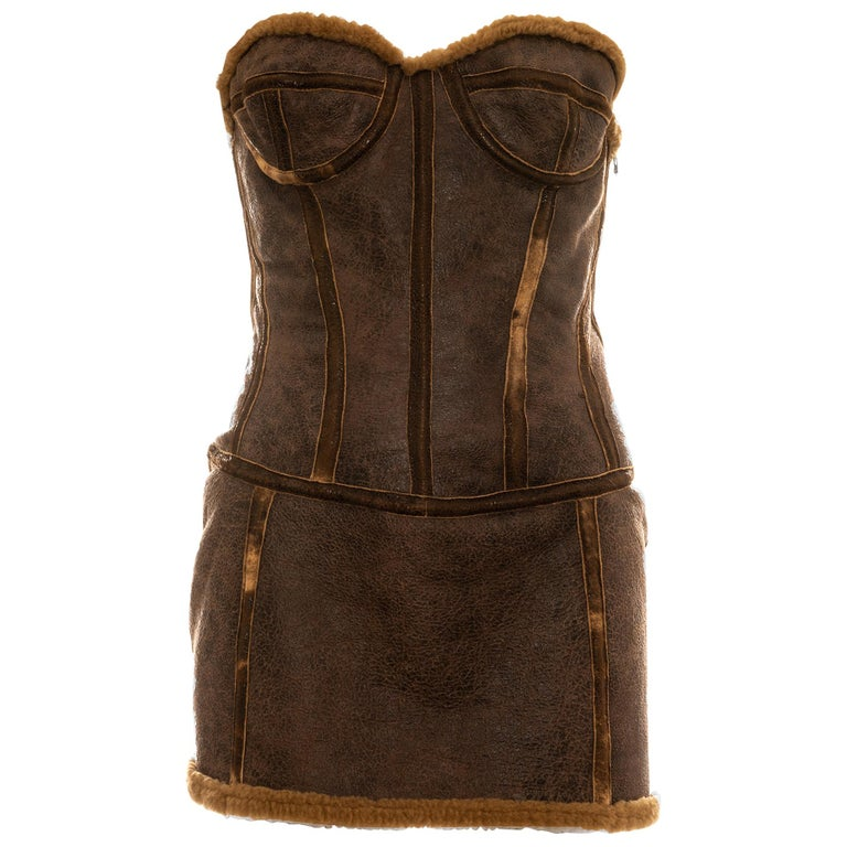 Roberto Cavalli brown distressed leather shearling mini dress, fw 2003 For Sale
