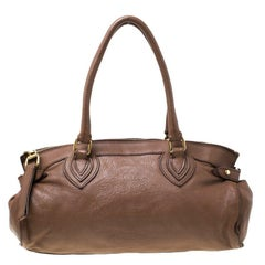 Roberto Cavalli Brown Logo Embossed Leather Satchel
