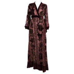 Roberto Cavalli Brown Silk Devore Kimono Maxi Long Dress