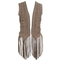Roberto Cavalli Brown Suede Perforated Fringed Vest S