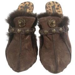 Roberto Cavalli Brown Suede Shoes