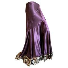 Roberto Cavalli Burgundy Vintage Silk Ball Skirt with Fortuny Pattern Gold Hem
