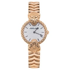 Roberto Cavalli By Franck Muller Silver Crystal Pave Tone Womens Wristwatch 32mm