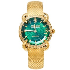 Roberto Cavalli By Frank Muller Green Gold Diamond Women's Wristwatch 34mm
