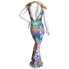 Roberto Cavalli China Pattern Print Body Hugging Maxi Dress with Keyhole Back