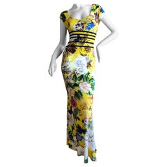 Roberto Cavalli Chinoiserie Style Long Yellow Floral Dress