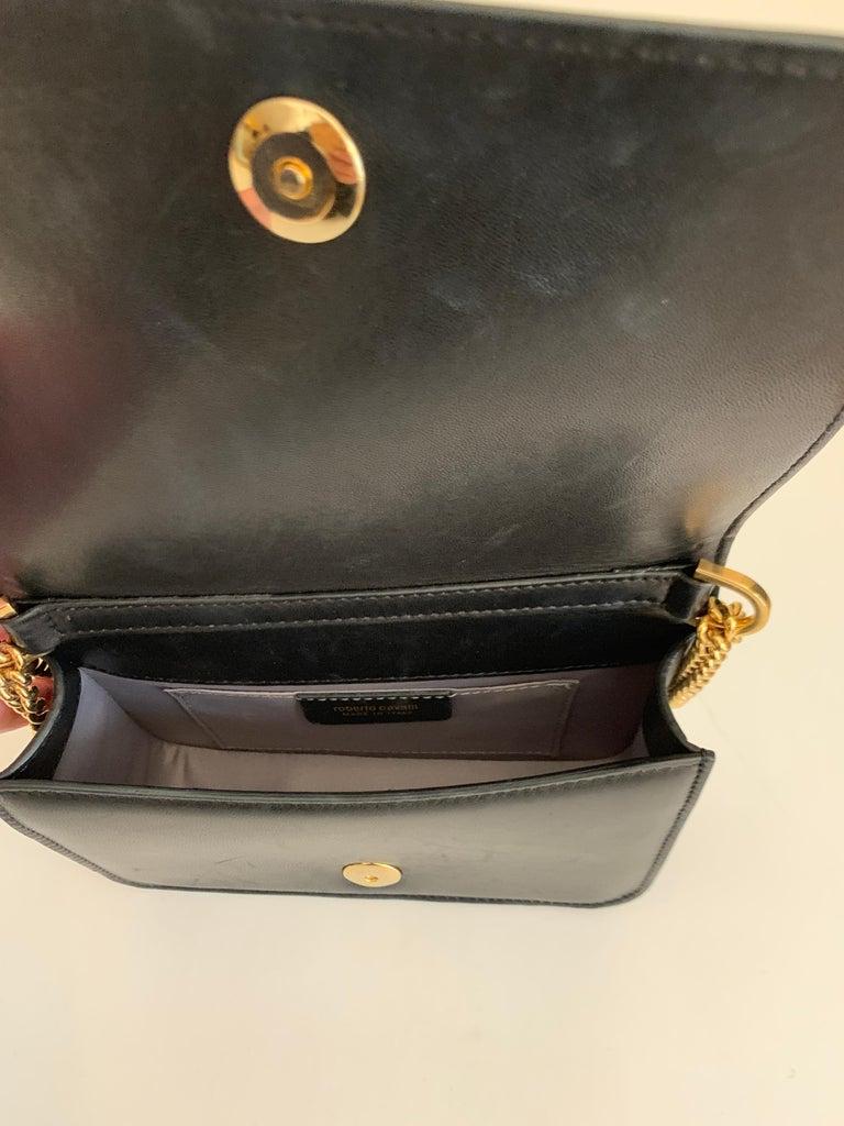 Roberto Cavalli Circus Purse Black Leather Gold Animal Embellishment Chain Strap For Sale 6