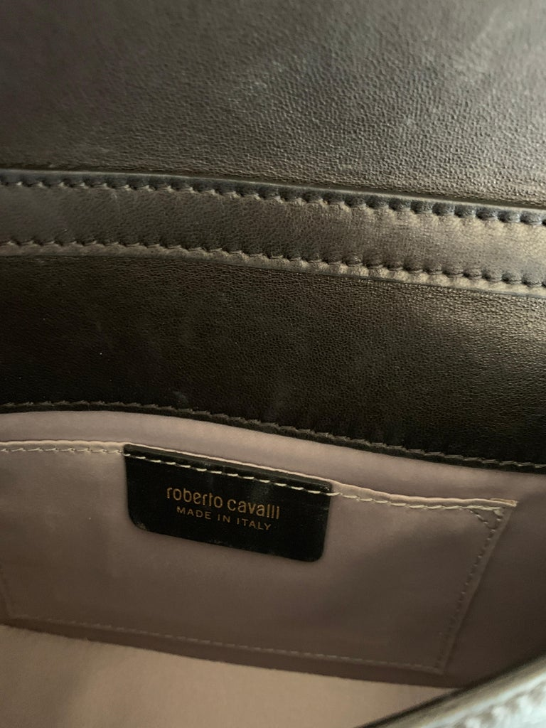 Roberto Cavalli Circus Purse Black Leather Gold Animal Embellishment Chain Strap For Sale 7