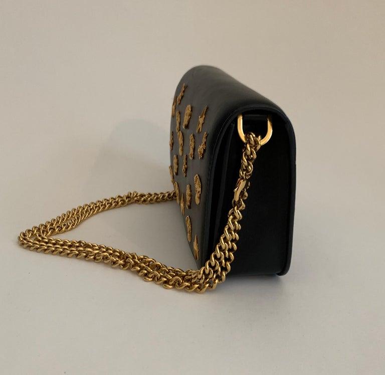 Women's Roberto Cavalli Circus Purse Black Leather Gold Animal Embellishment Chain Strap For Sale