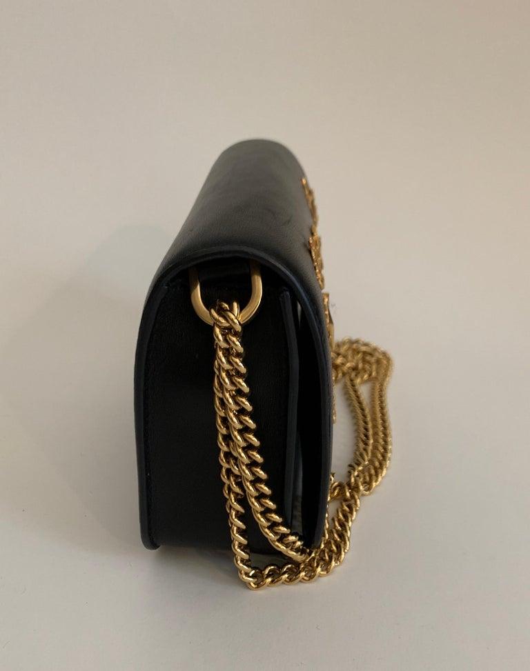 Roberto Cavalli Circus Purse Black Leather Gold Animal Embellishment Chain Strap For Sale 1