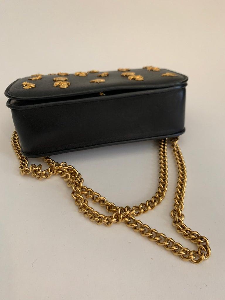 Roberto Cavalli Circus Purse Black Leather Gold Animal Embellishment Chain Strap For Sale 4