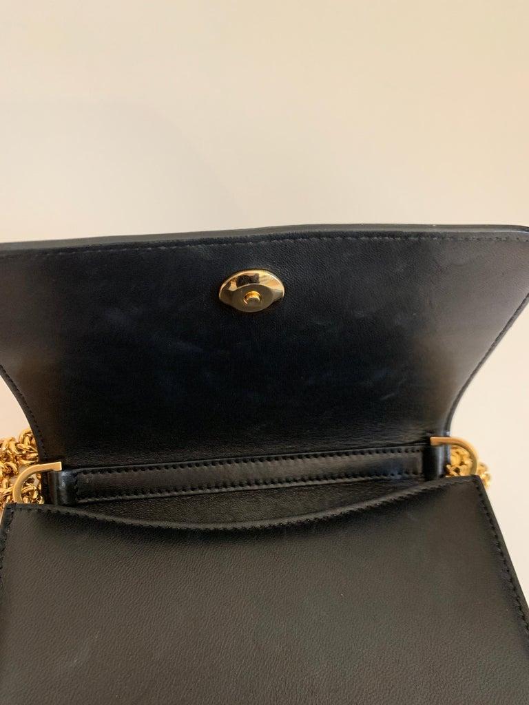 Roberto Cavalli Circus Purse Black Leather Gold Animal Embellishment Chain Strap For Sale 5