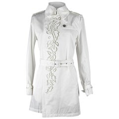 Roberto Cavalli Coat Trench Laser Cut Detail Winter White 42 / 8 New w/ Tag