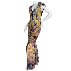 Roberto Cavalli Cold Shoulder Dragon Pattern Evening Dress