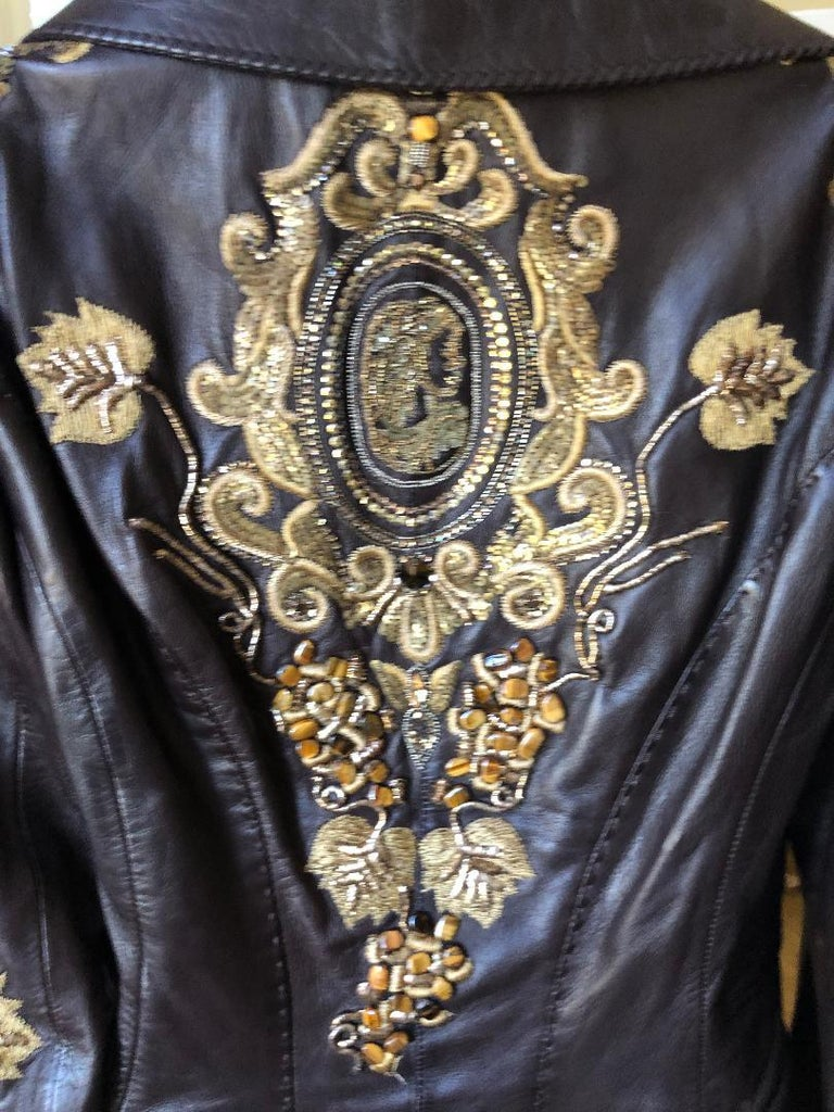 Roberto Cavalli Collectable Embellished Whipstitch Black Leather Jacket with Tigereye  Please use the zoom feature to see all the great details. From late 1980's  this is amazing Size M   Bust 38