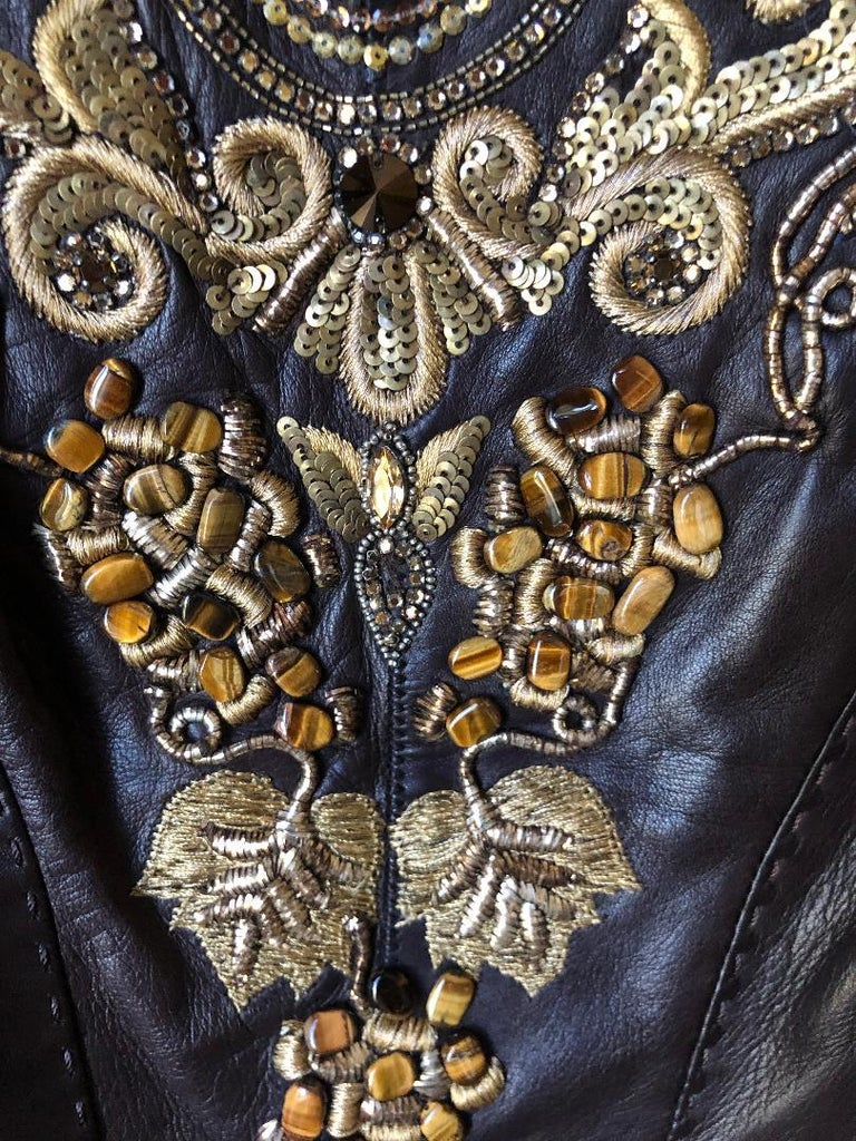 Roberto Cavalli Collectable Embellished Whipstitch Leather Jacket with Tigereye  In Good Condition For Sale In San Francisco, CA