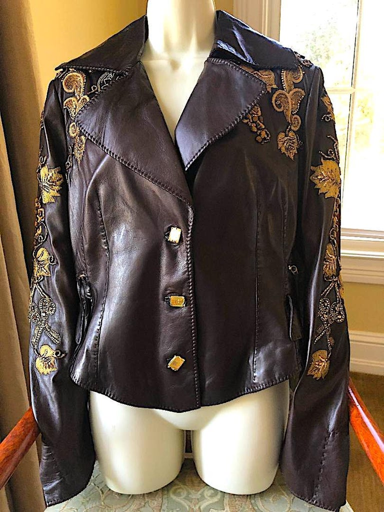 Roberto Cavalli Collectable Embellished Whipstitch Leather Jacket with Tigereye  For Sale 1