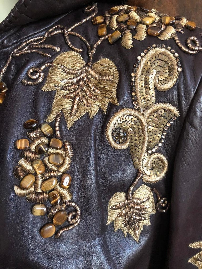 Roberto Cavalli Collectable Embellished Whipstitch Leather Jacket with Tigereye  For Sale 2