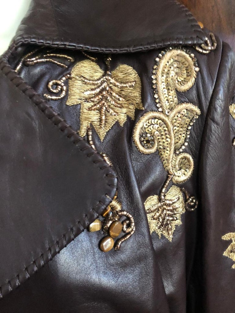 Roberto Cavalli Collectable Embellished Whipstitch Leather Jacket with Tigereye  For Sale 3
