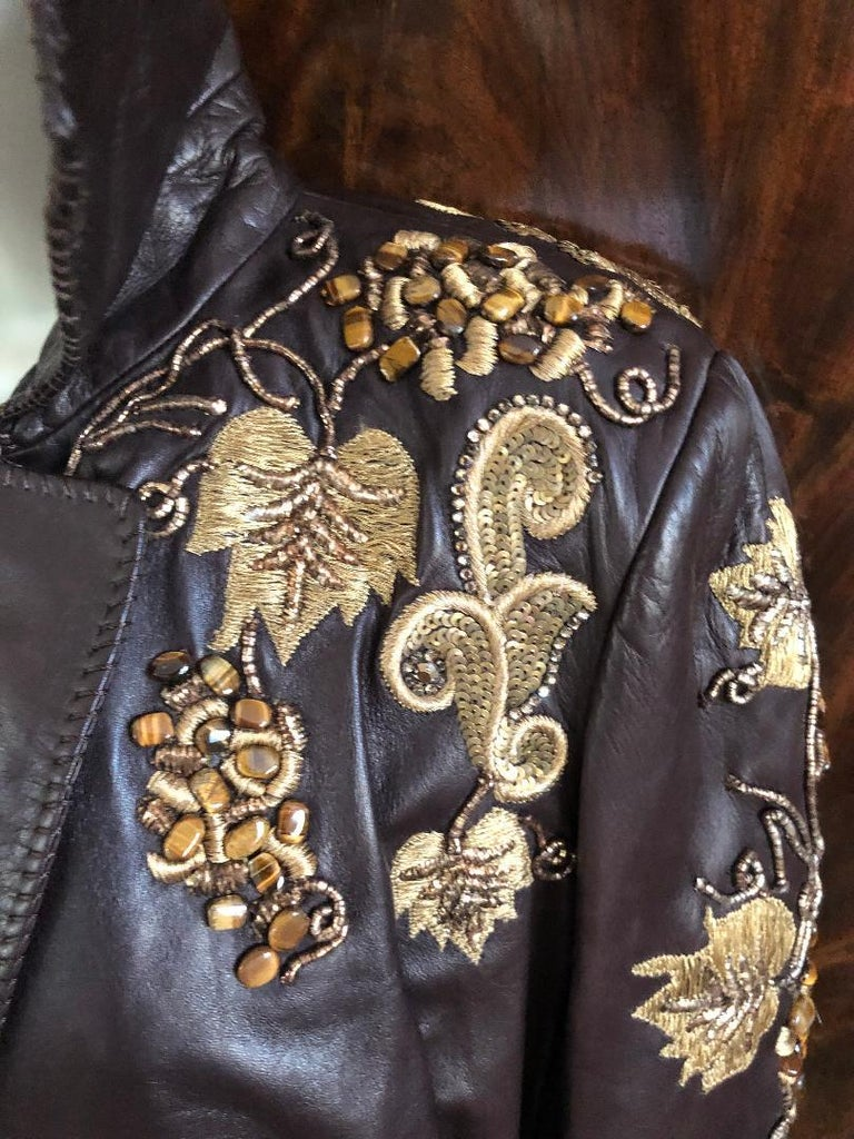 Roberto Cavalli Collectable Embellished Whipstitch Leather Jacket with Tigereye  For Sale 4