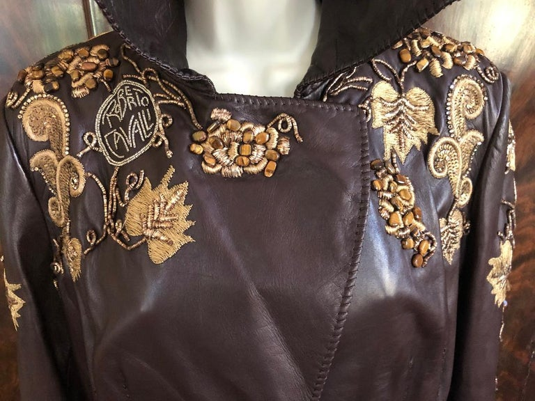 Roberto Cavalli Collectable Embellished Whipstitch Leather Jacket with Tigereye  For Sale 5