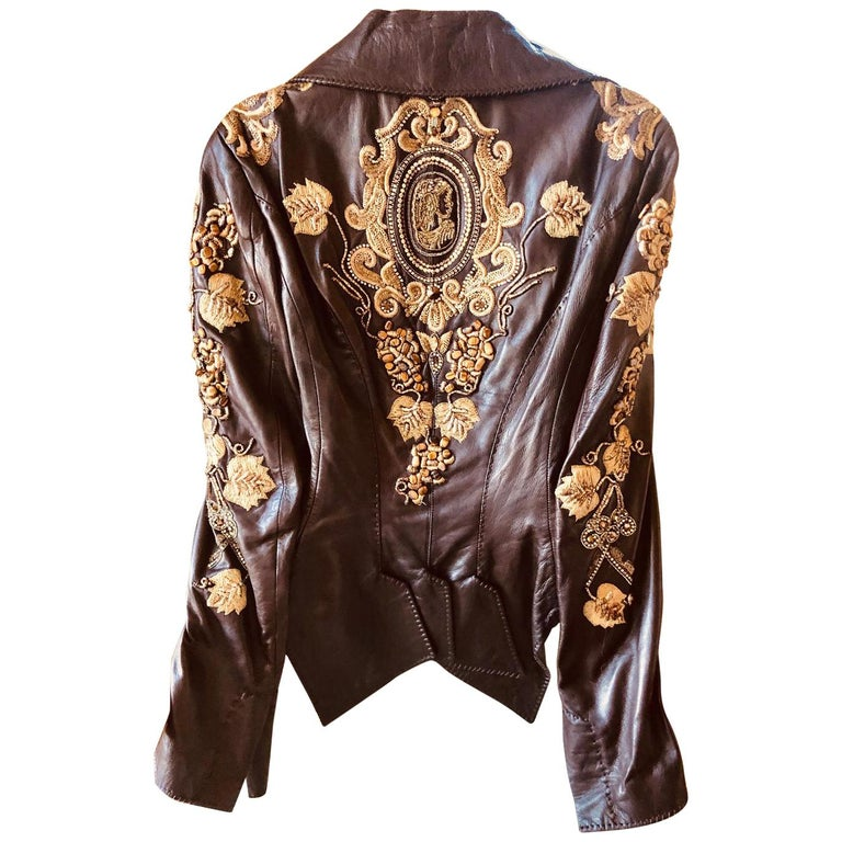 Roberto Cavalli Collectable Embellished Whipstitch Leather Jacket with Tigereye  For Sale