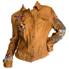 Roberto Cavalli Collectable Leather Jacket with Tattoo Embroidery 2003