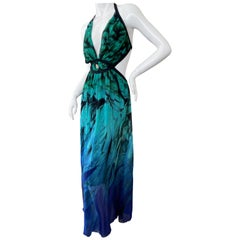 Roberto Cavalli Colorful Vintage Maxi Dress with Cut Out Sides