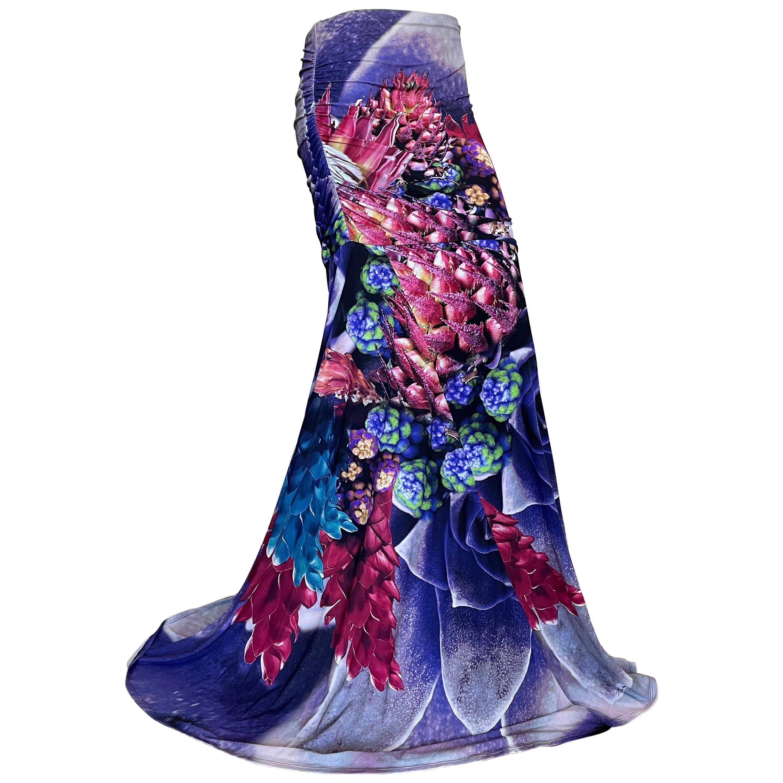 Roberto Cavalli Colorful Vintage Mermaid Skirt with Side Ruching