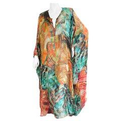 Roberto Cavalli Colorful Vintage SIlk Butterfly Wing Print Caftan Dress