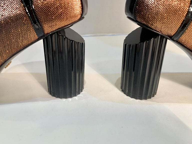 Roberto Cavalli Copper Metallic Open Toe Bootie Shoes Size 41 For Sale 1
