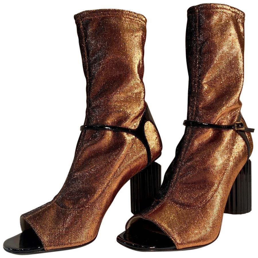 Roberto Cavalli Copper Metallic Open Toe Bootie Shoes Size 41