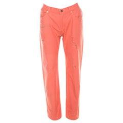 b687e4e980619 Roberto Cavalli Coral Pink Cotton Twill Denim Logo Print Distressed Jeans L