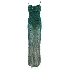 Roberto Cavalli Couture Sheer Nude Mesh Green Beaded Bodysuit Gown Dress