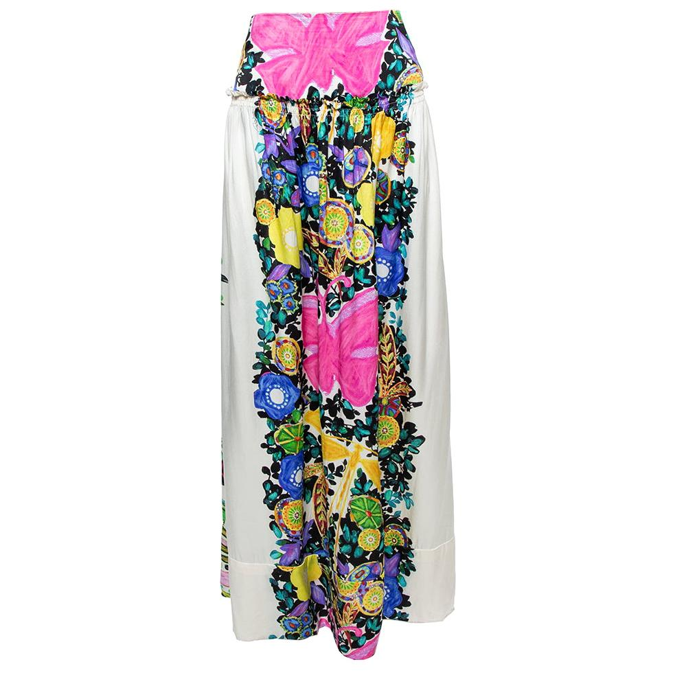 Roberto Cavalli Cream Flora & Fauna Print Satin Silk Maxi Skirt L