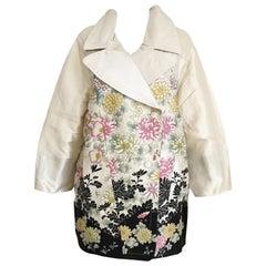 Roberto Cavalli Creme Floral Print Silk Coat Jacket