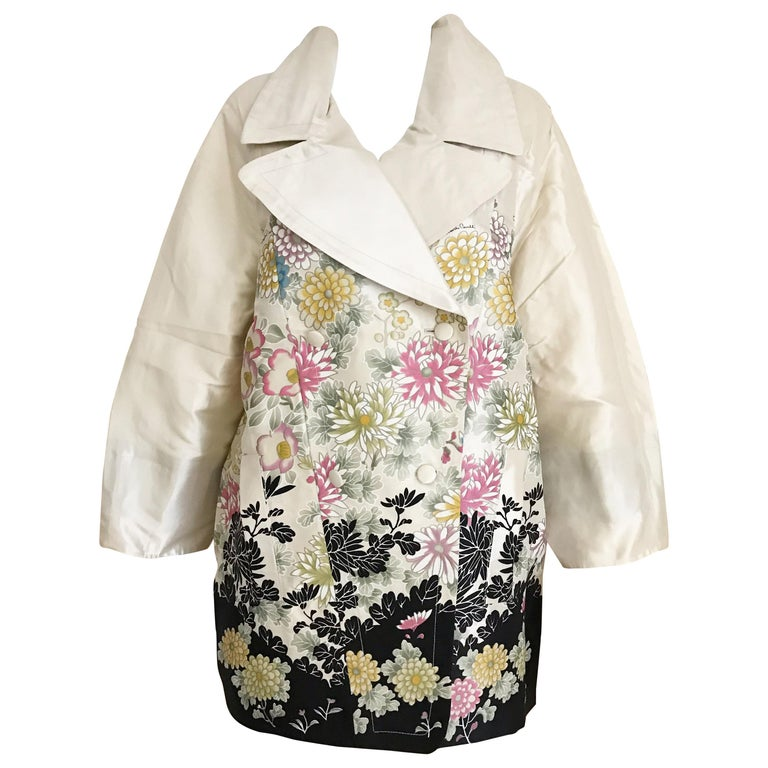 Roberto Cavalli Creme Floral Print Silk Coat Jacket For Sale