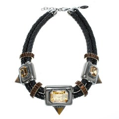 Roberto Cavalli Crystal Embellished Braided Leather Statement Choker Necklace
