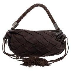 Roberto Cavalli Dark Brown Pleated Fabric and Leather Tassel Hobo