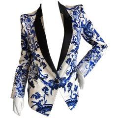 Roberto Cavalli Delft Porcelain Pattern Silk Shawl Collar Tuxedo Jacket Size 44