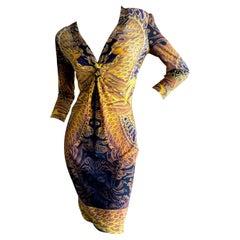 Roberto Cavalli  Dragon Pattern Cocktail Dress